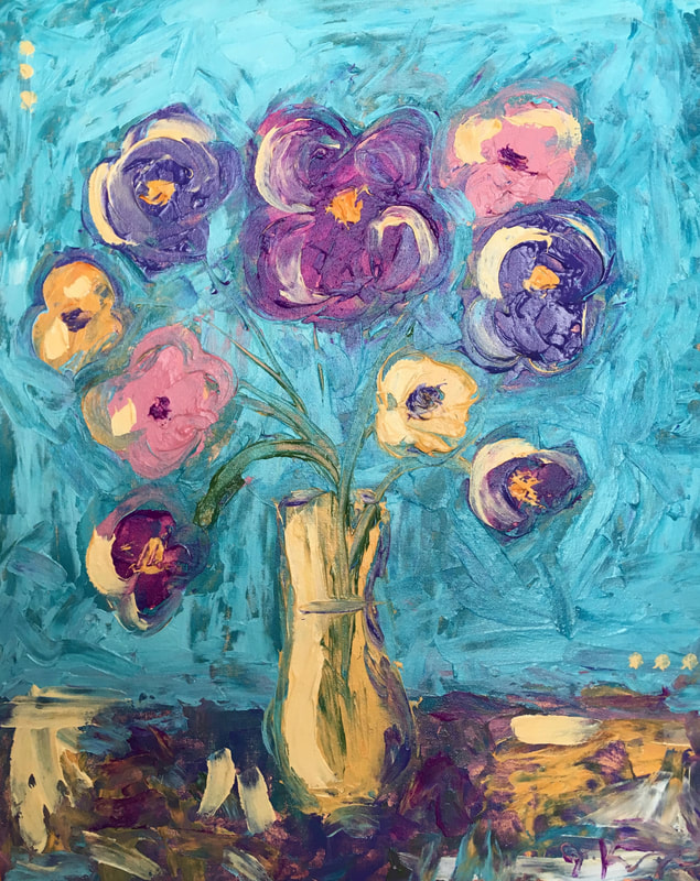 jenny king art vibrant fun florals original art work