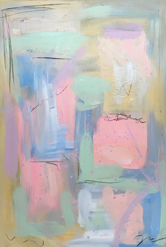 Jenny King contemporary mixed media art pastel colors