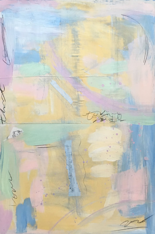 Jenny King contemporary mixed media art pastel colors yellow pink teal lavender