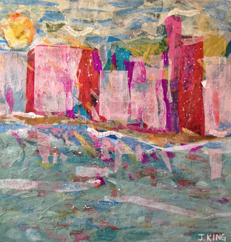 jenny king art mixed media splash of happy pinks miami blue teal aqua seascape cityscape