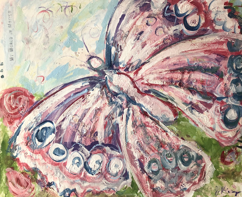 jenny king artist butterfly painting pinks fun mixed media