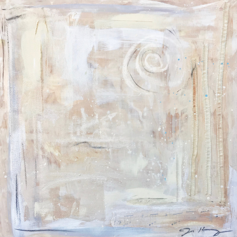 jenny king mixed media contemporary art interior design creams muted palette french vanilla