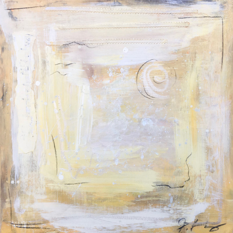 Jenny King Mixed Media Contemporary fine art Yellow soft neutral tone