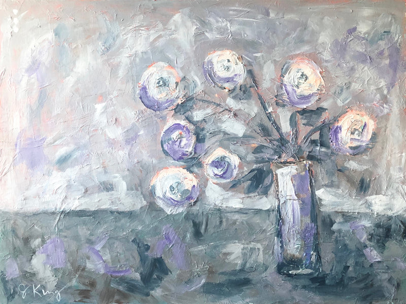 jenny king artist florals grays purple blue mixed media contemporary fine art interior design