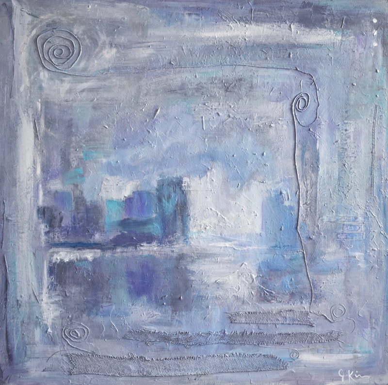Jenny King Art Mixed Media Blue Cityscape contemporary interior design