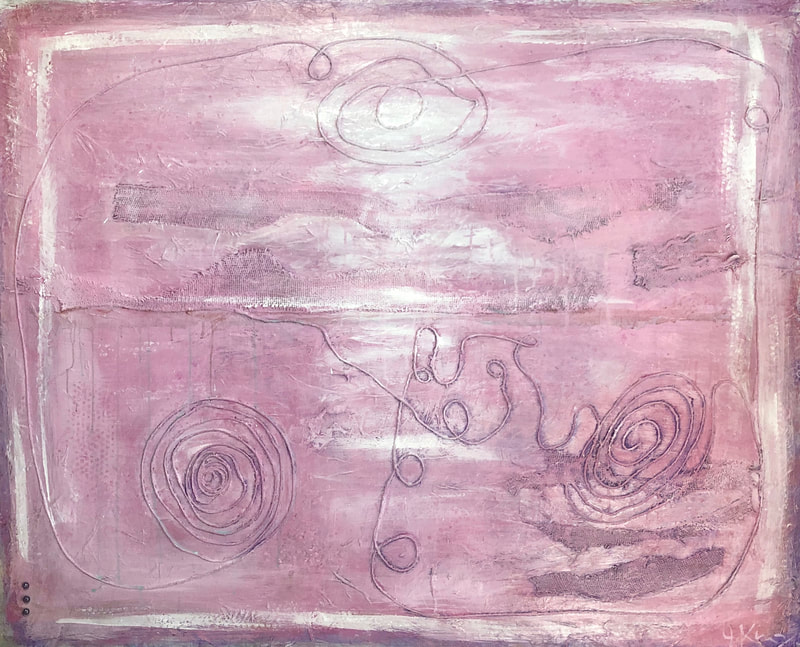 Jenny King Artist Pink mixed media contemporary fine art