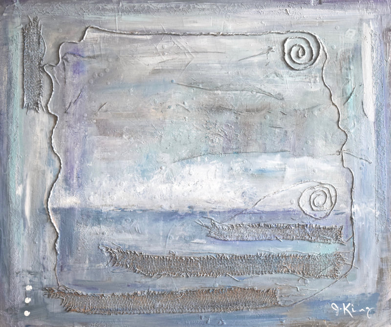Jenny King mixed media fine art contemporary, calm blue ocean scape ,grey gray