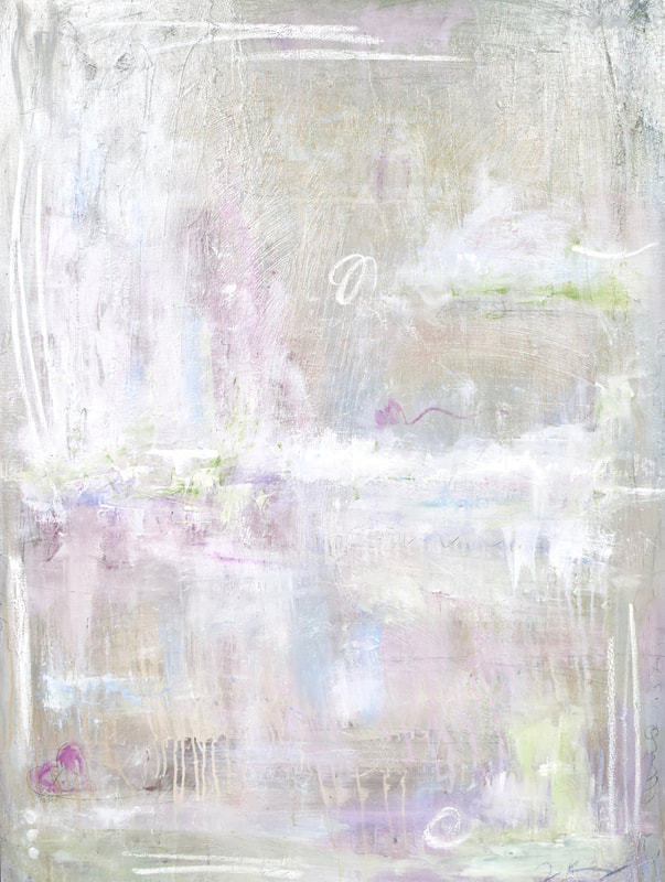 jenny king mixed media calm landscape mystical pinks purples soft palette contemporary fine art