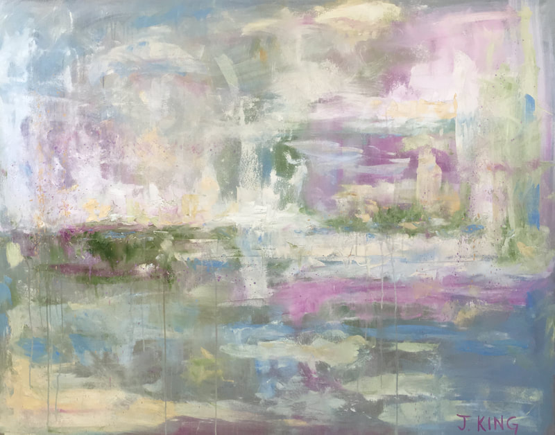 jenny king art landscape dreamy pinks blues greens whites soft contemporary fine art